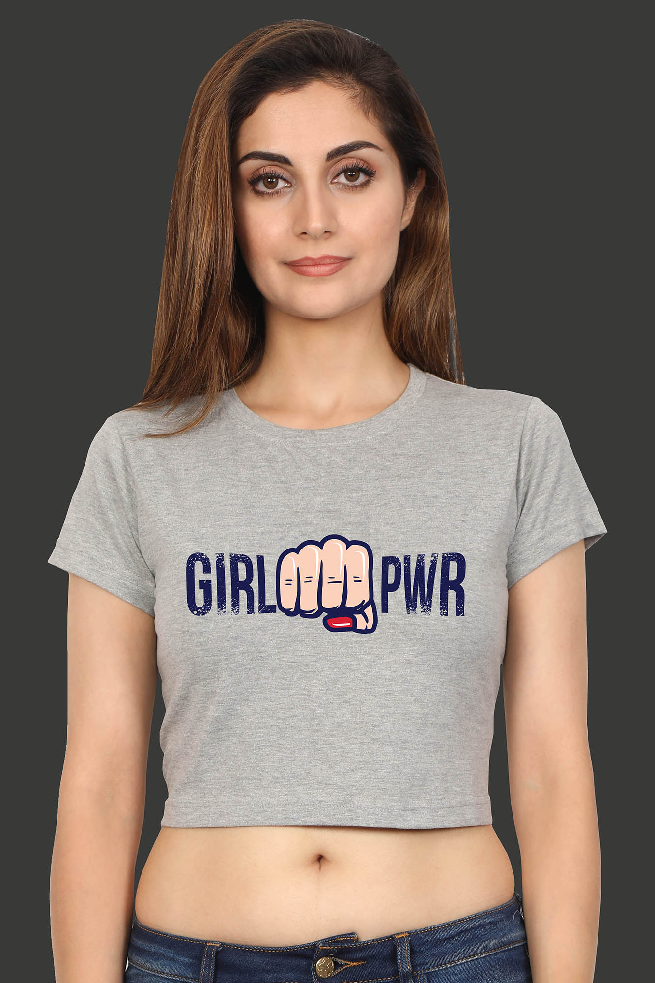 Girl Power Grey Crop Top Front