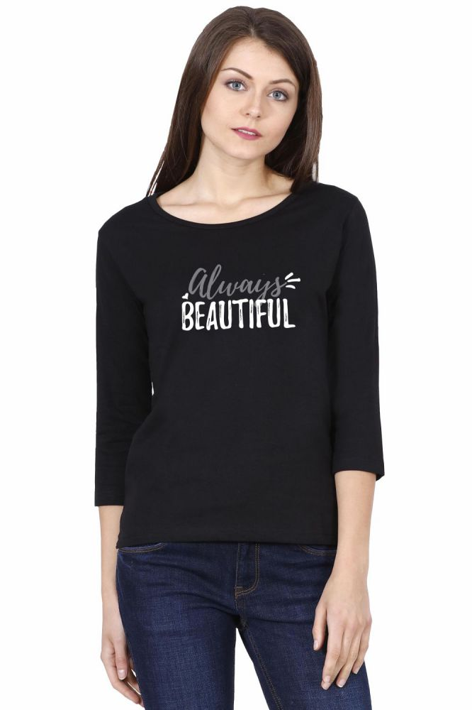 Always Beautiful Women's Black 3/4 Sleeve Tshirt