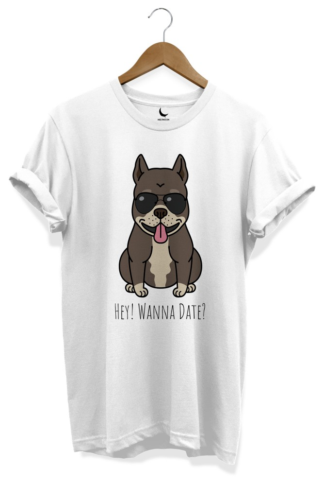 Hey wanna date pitbull dog printed tee